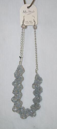 My Style Gray 2 Strand Beaded Braid Necklace Single Bead Earings Set
