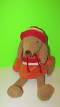 Bath and Body Works Plush Brown Dog Barker Orange Hoodie Outfit red striped hat - $8.99