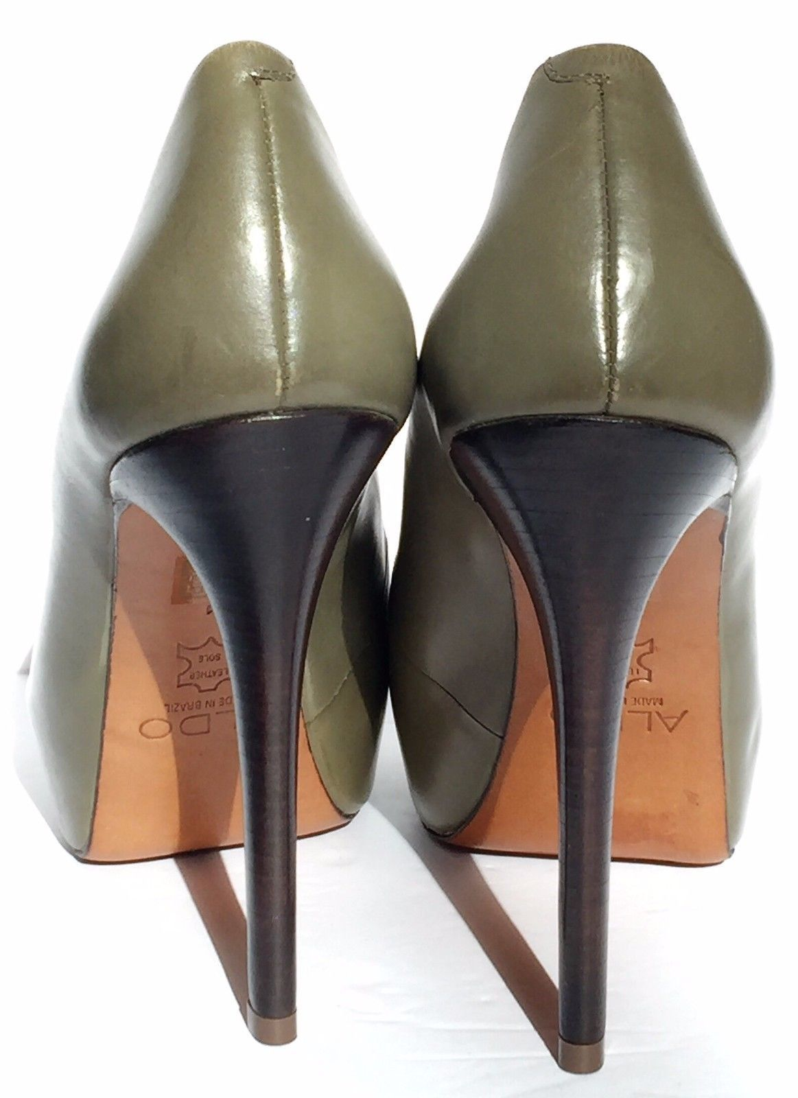 4e73bb6cd8a Aldo Olive Green Leather Peep Toe Platform and 28 similar items