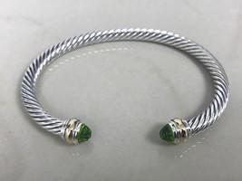 David Yurman Sterling Silver 14k Gold Peridot 5mm Cable Classic Bracelet - $284.99