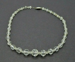 "Clear Crystal Glass Bead Beaded Silver Tone Necklace Vintage 18"" Length - $24.74"