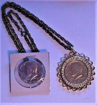 John F. Kennedy (2) Half Dollar Pendant Adorned with Rhinestones & Half ... - $59.95