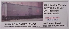 Funaro & Camerlengo HO CV 40' Wood Milk Car tilted herald kit 6731 image 1