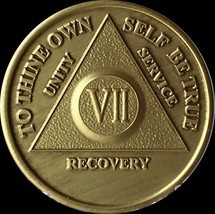 7 Year AA Medallion Alcoholics Anonymous Sobriety Chip Coin VII Seven Br... - $2.99