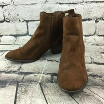 American Eagle Outfitters Womens Sz 8 Ankle Boots Brown Faux Suede Easy-On - $19.79