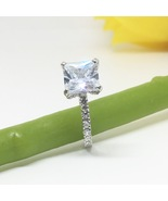 US 9 - 4 cts Princess cut Diamond Simulant Accented Solitaire Engagement... - $99.99