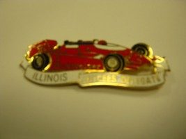 BUDWEISER ILLINOIS JAYCEES DELEGATE BROOCH RED CAR GOLD LETTERS - $9.89