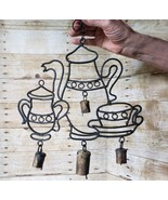 Antique Hand Made Iron Tea Set Sheep Goat Cow Bell Wind Chime Deco Folk Art - $29.02