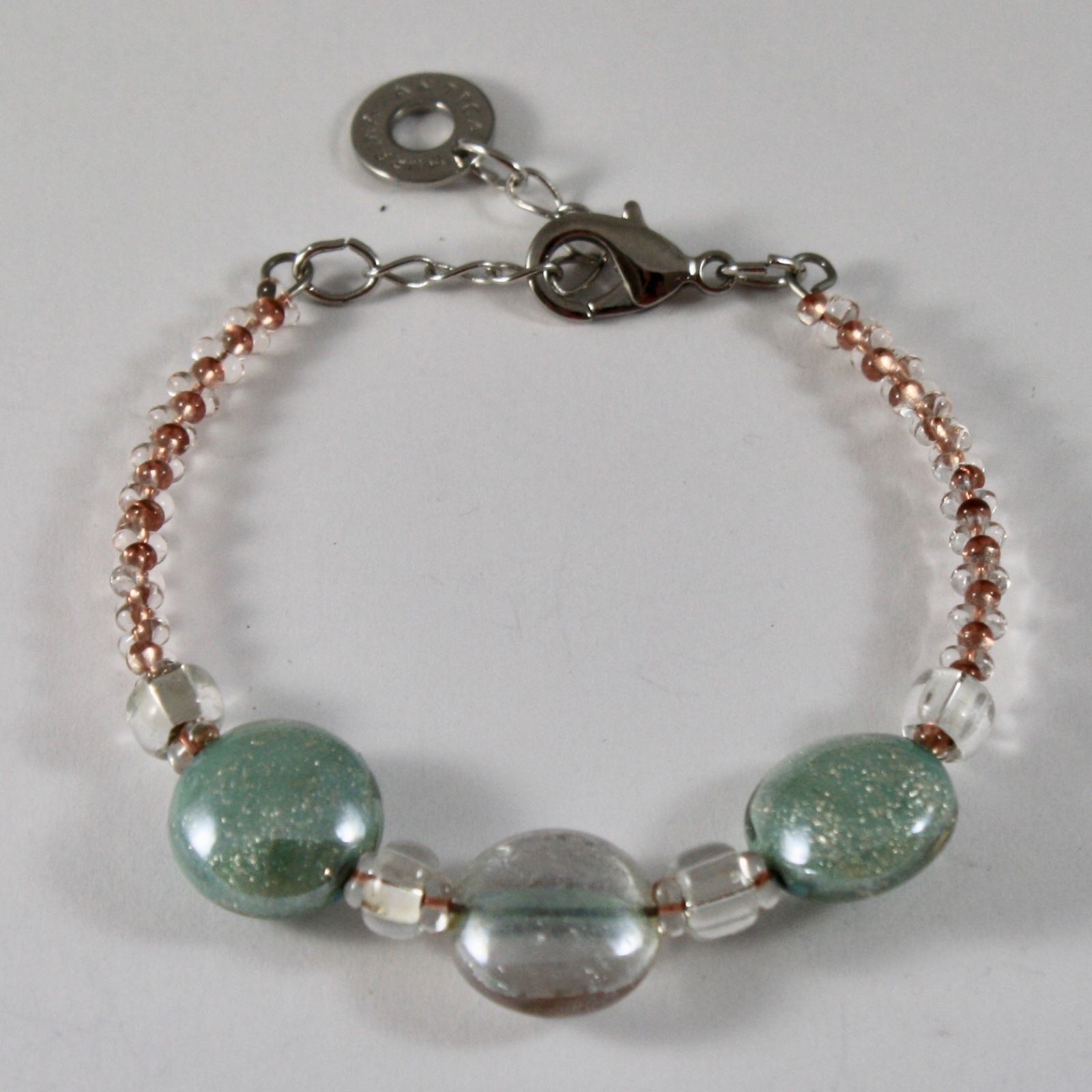 ANTICA MURRINA VENEZIA REDENTORE BRACELET WITH PINK AND GREEN MURANO GLASS DISCS