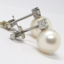 White Gold Earrings 750 18K White Pearls Diameter 9 mm, Diamond Carat 0.25 image 2