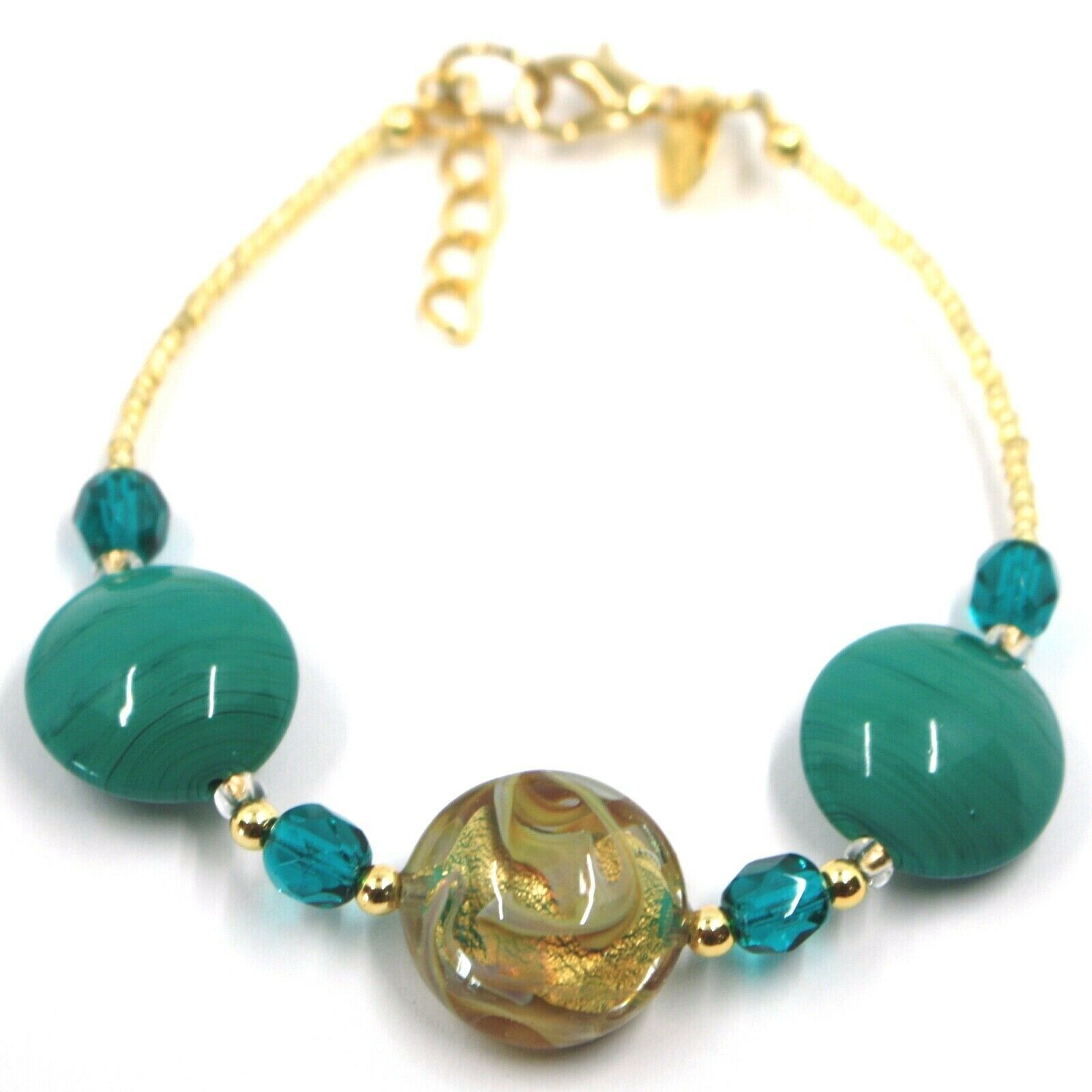 """BRACELET GREEN YELLOW MURANO DISC GLASS & GOLD LEAF, MADE IN ITALY, 19cm, 7.5"""""""