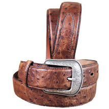 32 Inch 3D Mens Ostrich Print Leather Belt Removable Silver Buckle U-4-32 - $49.45