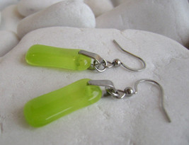 yellow-lime translucent glass dangle earrings,fused  murano glass ,surgi... - $16.00