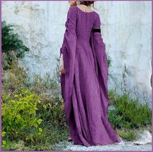 Medieval Wide Long Sleeved Floor Length Purple Linen Gothic Chemise Unde... - $78.95