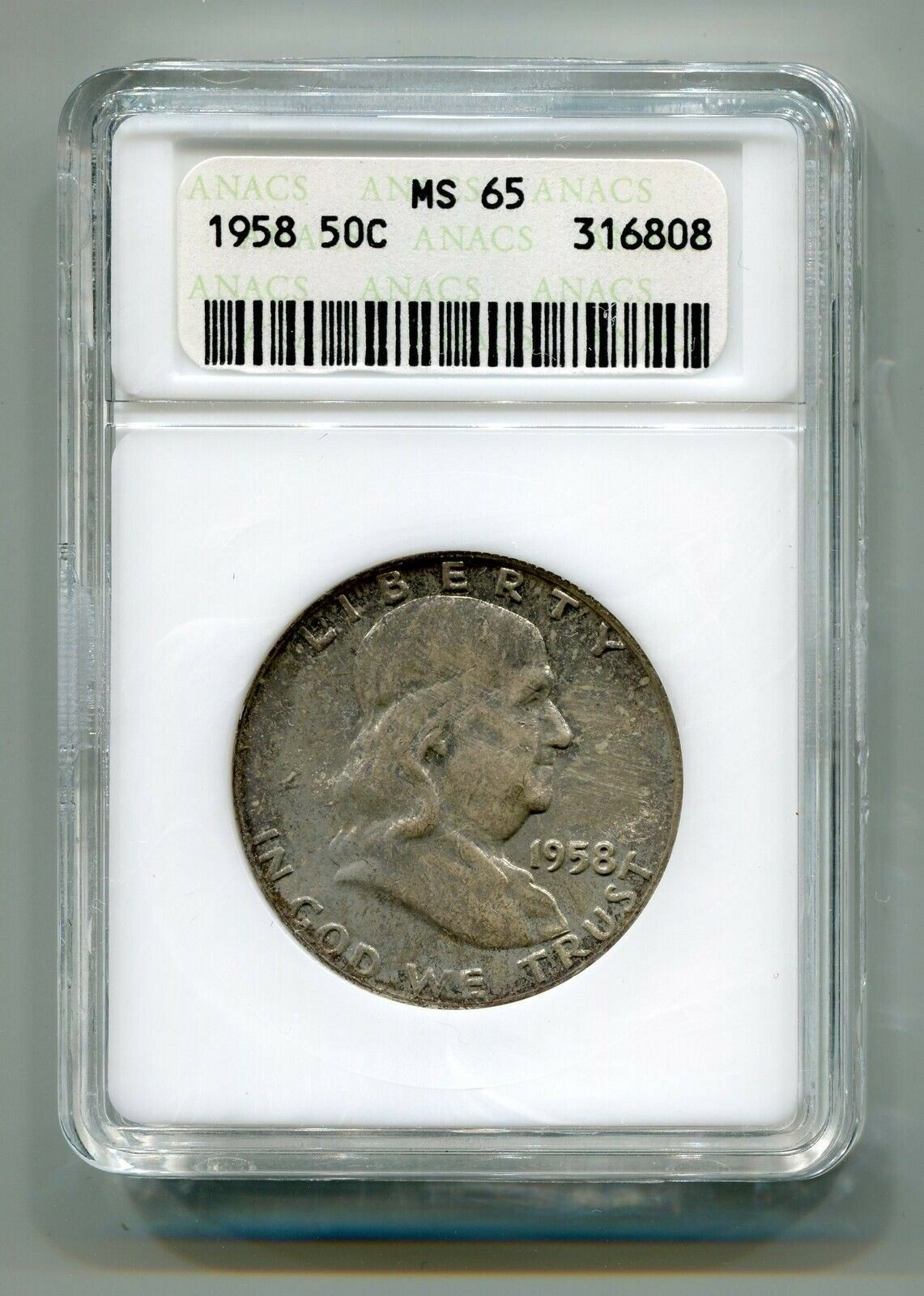 Primary image for 1958 FRANKLIN HALF ANACS MS65 NICE COLOR NICE ORIGINAL COIN FROM BOBS COINS
