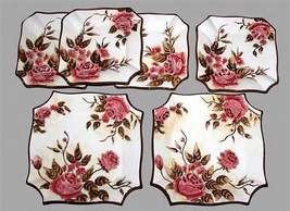6 Handpainted ROSE Floral Square Scalloped Deep Salad & Dinner Plates NW... - $56.99
