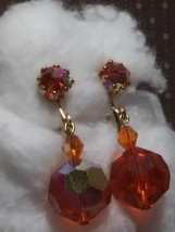 Mid-century Red/Orange Aurora Borealis Dangle Clip Earrings - $27.50