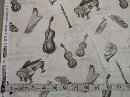 1/2 yd Music/instruments on ivory quilt fabric -free shipping image 3