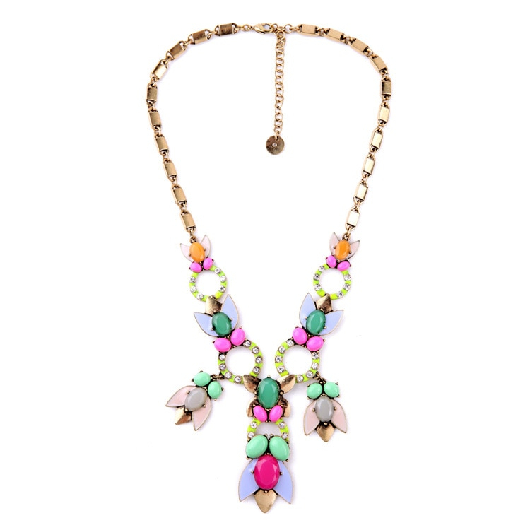 New york mixed charm candy color cluster necklace 2015 brand jewelry free shipping 1