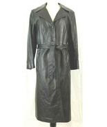 Golet Leather Black Trench Coat Size Medium With Belt Vintage  - $42.52