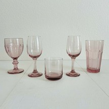 5 - Vintage Mismatched Pink Glassware Libbey Duratuff Tumbler Wine Glass Goblets - $44.55