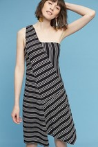 NWT Anthropologie Moka One-Shoulder Dress by Maeve, Black&White,$118  XS - $43.56