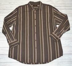 Mens XXL 2XL Tasso Elba Long Sleeve Casual Button Shirt Brown Khaki Stripe - $9.99