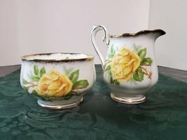 Vintage Royal Albert Bone China Sugar & Creamer Set Yellow Tea Rose 2pc ... - $32.81