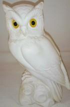 "White Owl Figurine on Branch Yellow Eyes Heavy 7"" - $29.69"