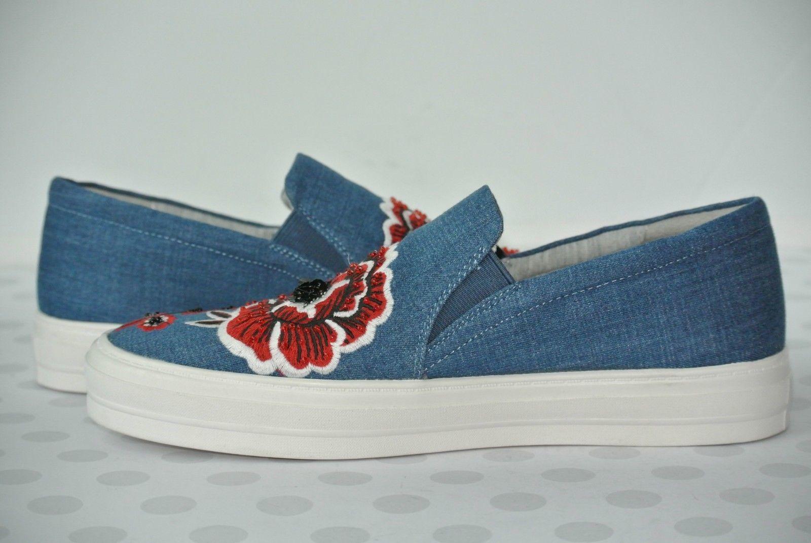 NEW Nine West Onyeka Womens Sz 7.5 M Blue Denim Slip On Platform Sneakers