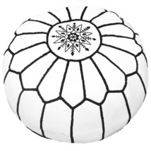 Sale  moroccan genuine Pouf white with black sewing