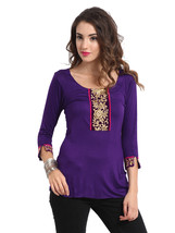 Ira Soleil purple viscose knitted stretchable lace 3 4 sleeves short wom... - $49.99