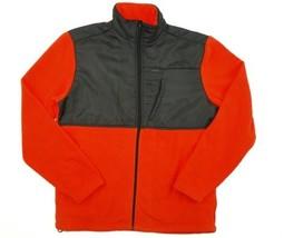 Men's IZOD Brushed Fleece Jacket Full Zip Orange with Contrast Color Trim NEW