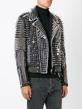 Men Handmade Real Leather Studded Fashion Jacket Silver Stud Jackets for Men - $219.99