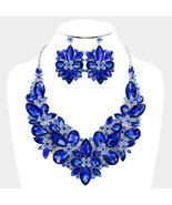 Elegant BlueTeardrop Crystal AB Rhinestone Silver Rhodium Collar Bib Nec... - $69.99