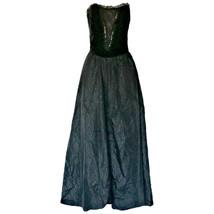 Vintage Formal Dress Black Goth 80s Ronald Joyce Long Maxi Size Small  - $32.92