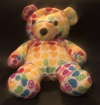 "Beeposh Melissa & Doug 18"" groovy plush bear hearts peace signs hope bear #7200 - $19.79"