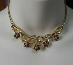 Vintage Gold-tone Floral Purple & Clear Rhinestone Choker Necklace - $54.45