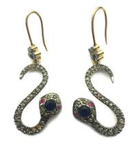 Victorian 3.00ct Rose Cut Diamond Blue Sapphire Ruby Elegant Wedding Ear... - $553.51