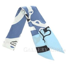 HERMES Scarf Twilly Festival Quadri Silk Bleu Ciel France Authentic 4765721 - £172.86 GBP