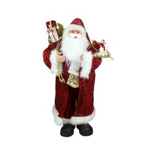 """Northlight 32"""" Standing Santa Claus in Long Red Gold Robe Gifts Christma... - $88.84"""
