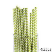 Lime Green Chevron Paper Straws - $5.49