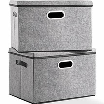 Large Foldable Storage Box with Lid [2-Pack] Linen Fabric Decorative Sto... - $38.91