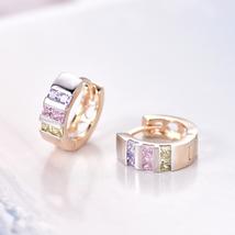 Wholesale Gold-Color Hoop Huggie Earrings For Women  Stone Crystal CC Earings Fa image 3