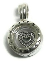 Authentic Pandora Sterling Silver Floating Heart Locket Pendant - $48.51