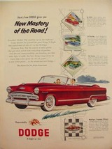 1953 DODGE CORONET V-EIGHT CONVERTIBLE NEW MASTERY OF THE ROAD PRINT AD  - $9.99