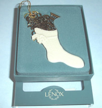 Lenox STOCKING Christmas Ornament Porcelain/Gold Accents 2-Sides Made in USA New - $23.90