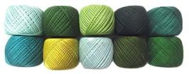 LOT 10 SHADES of GREEN 6 Ply Strand Cotton Thread Yarn Cross Stitch Embr... - $11.87