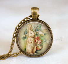 RABBIT Pendant Necklace Keychain, Easter Jewelry, Vintage White Rabbit, ... - $11.95
