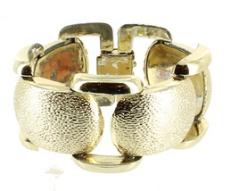 "Vintage Chunky Organic Gold Tone Big Link Bracelet 1980'S 7.5"" - $48.59"